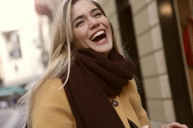 blonde girl laughing