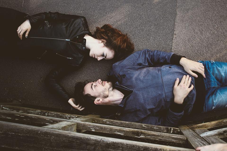 beautiful couple laying down