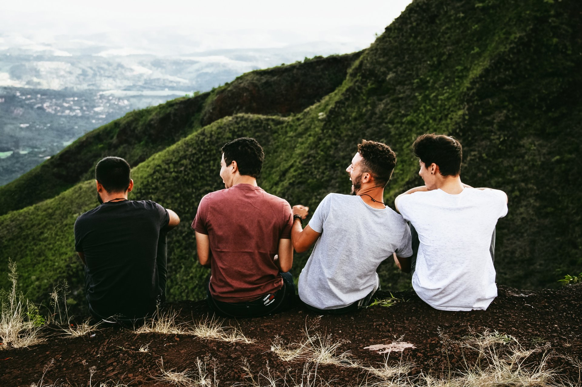 four friends talking
